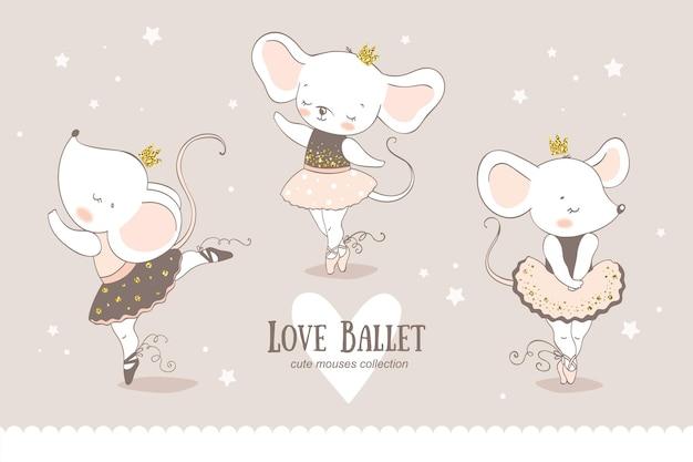Милый мультфильм мышь балерина мультипликационный персонаж.