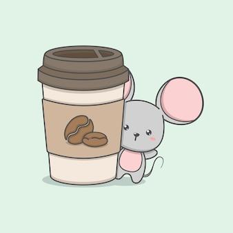 コーヒーカップとかわいい漫画のマウスのキャラクター