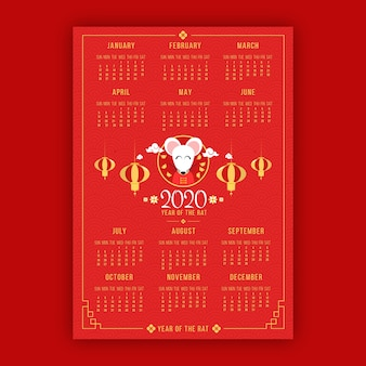 Cute cartoon mouse and red calendar chinese new year