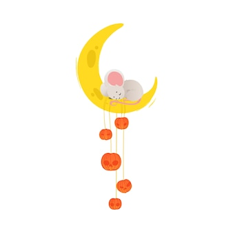 Cute cartoon mouse sleeping on cheese moon with pumpkins - yellow crescent with adorable little grey mouse taking a nap.    illustration on white background.