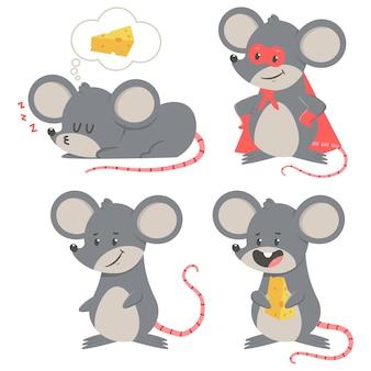 귀여운 만화 마우스 벡터 만화 문자 집합 흰색 배경에 고립.