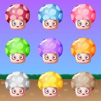 Cute cartoon mushroom many colors.
