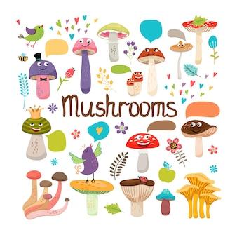 Funghi simpatico cartone animato con facce e fumetti con uccelli e insetti colorati disegno vettoriale su bianco