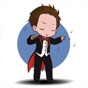 Cute cartoon music conductor in black tailcoat with notes