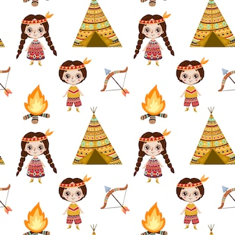 Cute cartoon native american seamless pattern