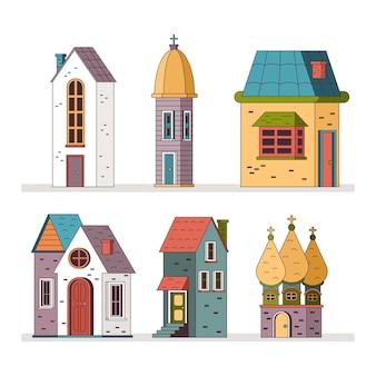 귀여운 만화 오래 된 집과 건물 벡터 집합 흰색 배경에 고립.