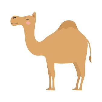귀여운 만화 하나의 혹이있는 낙타 평면 스타일 그림