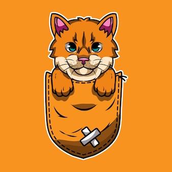 Cute cartoon orange cat in a pocket