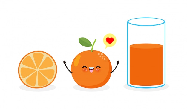 Cute cartoon orange and orange juice glass, happy breakfast funny fruit characters best friends set, concept with eating healthy food isolated on white background  illustration
