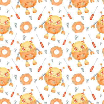 귀여운 만화 오렌지 로봇 원활한 패턴