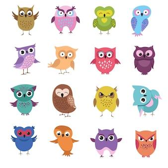 Cute cartoon owl characters vector set