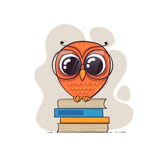 Cute cartoon owl in glasses with books.