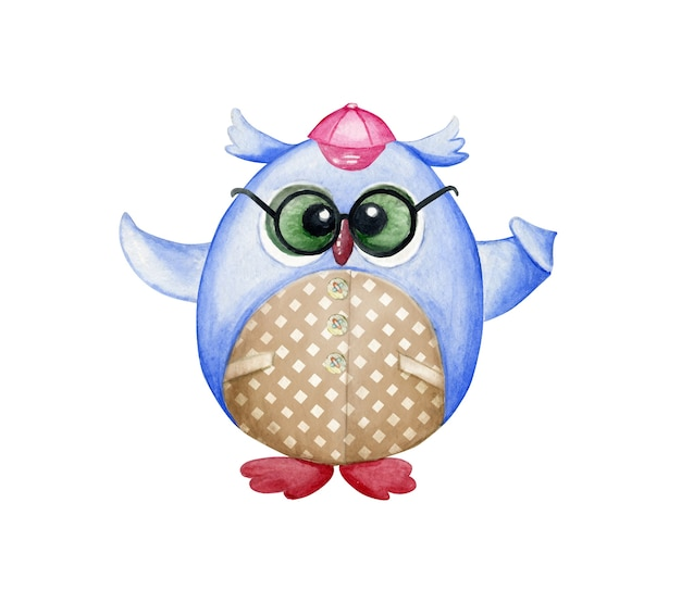 Cute cartoon owl, on an isolated background. a hand-drawn watercolor animal. back to school.