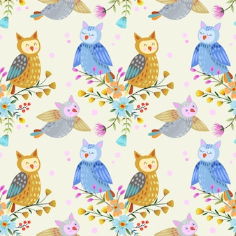 Cute cartoon owl seamless pattern.