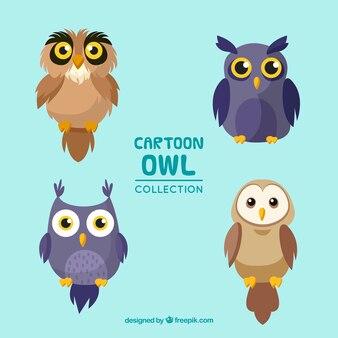 Cute cartoon owl set