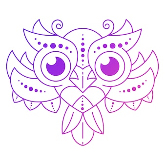 Cute cartoon owl with feathers on dark background