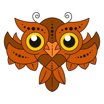Cute cartoon owl with feathers on white background