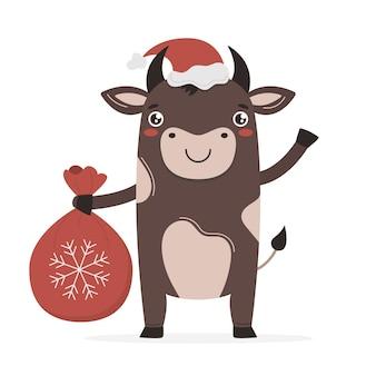 Милый мультяшный бык в новом году