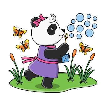 Милый мультфильм панда дует мыльный пузырь