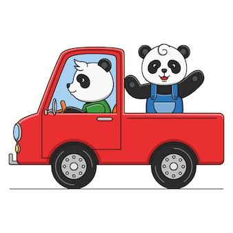 トラックを運転してかわいい漫画パンダ