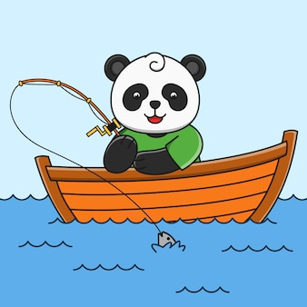 Cute cartoon panda fishing fish  illustration