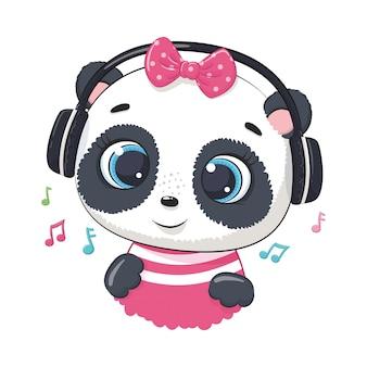 ヘッドフォンでかわいい漫画パンダの女の子が音楽を聴く