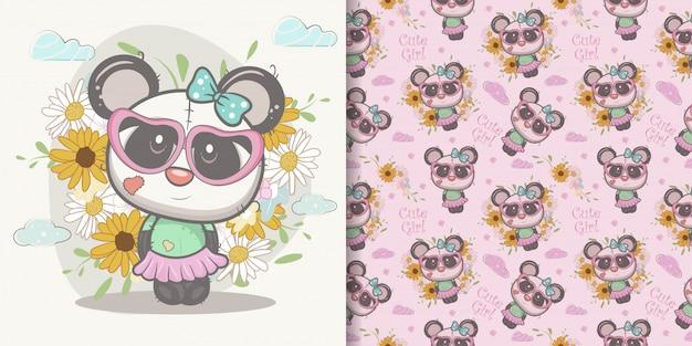Cute cartoon panda girl with seamless pattern