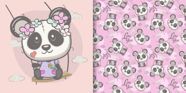 Cute cartoon panda girl with seamless pattern