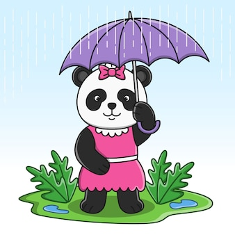 Cute cartoon panda holding umbrella illustration design