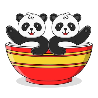 ボウルのイラストでかわいい漫画パンダ
