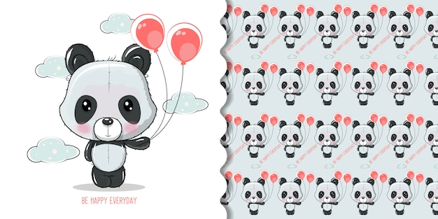 Cute cartoon panda isolated on a white background