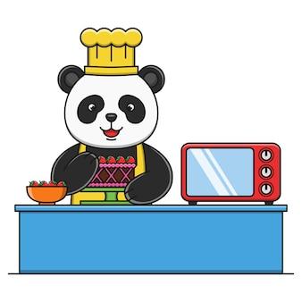 Cute cartoon panda making cake