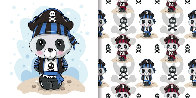 Cute cartoon panda in a pirate hat with seamless pattern set