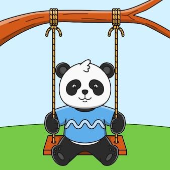 Симпатичные карикатуры панда играет качели иллюстрации