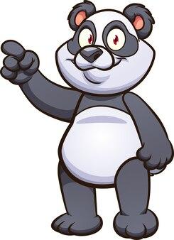 Милый мультфильм панда указывая пальцем.