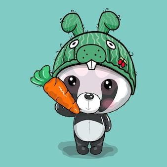 Cute cartoon panda in rabbit cap vector illustration
