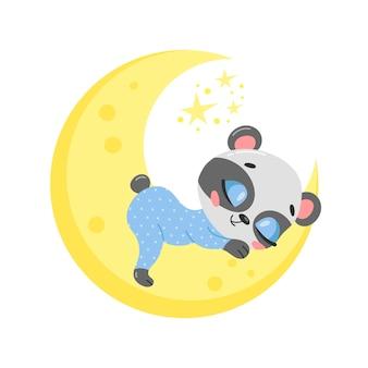 Cute cartoon panda sleeping on the moon.