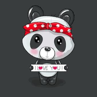 심장 벡터 일러스트와 함께 귀여운 만화 팬더