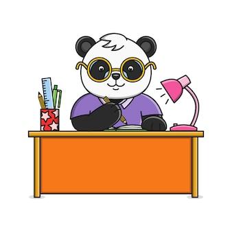 Милый мультфильм панда пишет в блокноте