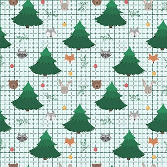 Cute cartoon pattern with animals and trees