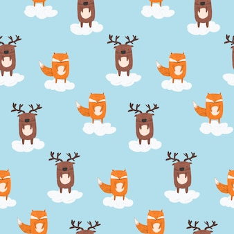 Cute cartoon pattern with deer and fox in clouds