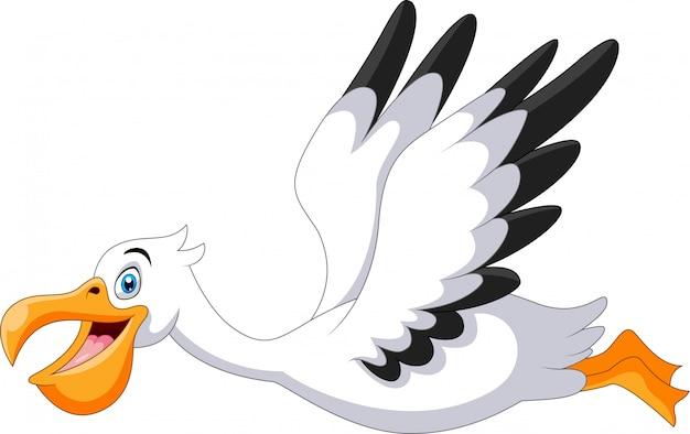 かわいい漫画のペリカンが飛んでいます。