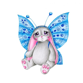 Cute cartoon pencil-drawn bunny with butterfly wings on a white background