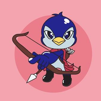 矢印のかわいい漫画ペンギンキャラクターアーチャー