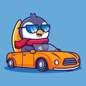 귀여운 만화 펭귄 디자인 차를 운전