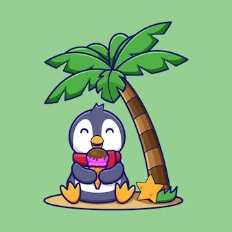 Милый мультяшный пингвин ест мороженое под деревом