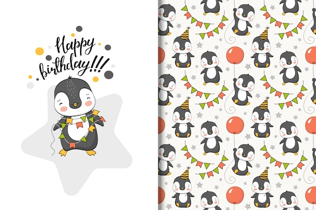 Cute cartoon penguin greeting card and seamless pattern
