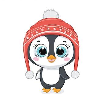 Милый мультяшный пингвин в зимней шапке