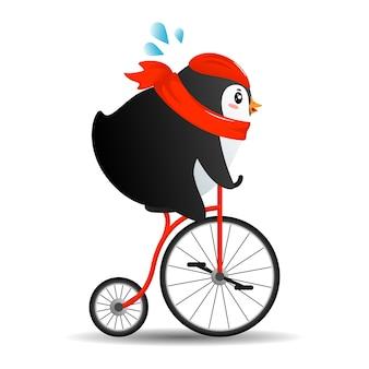 빨간 스카프로 자전거에 귀여운 만화 펭귄