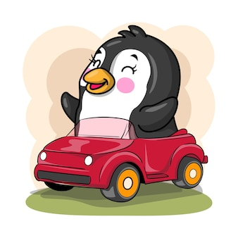 かわいい漫画のペンギンは子供のための車のイラストに乗る